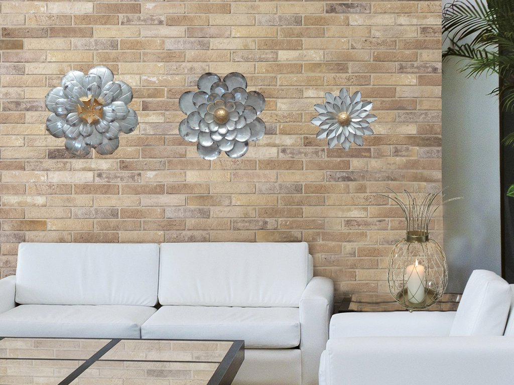 2020 Galvanized Flowers Wall Décor Set Of 3 Metal Flower Wall Art By For Metal Flower Wall Decor (Set Of 3) (Gallery 20 of 20)