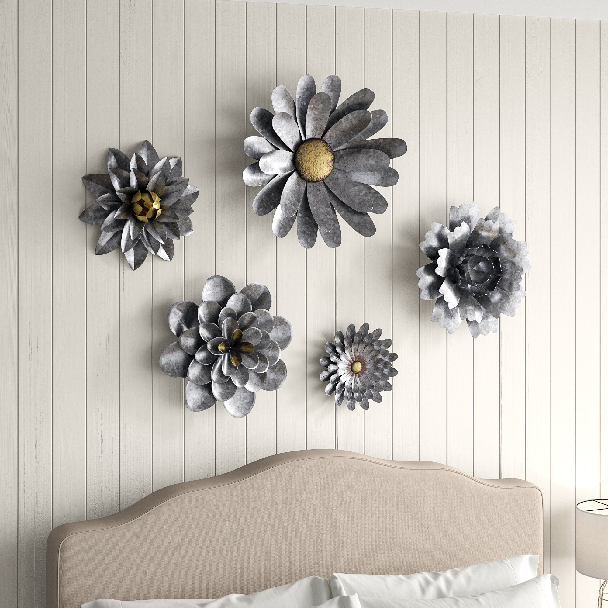 2020 Gracie Oaks 5 Piece Galvanized Metal Flower Hanging Wall Décor Set Throughout 3 Piece Ceramic Flowers Wall Decor Sets (Gallery 3 of 20)