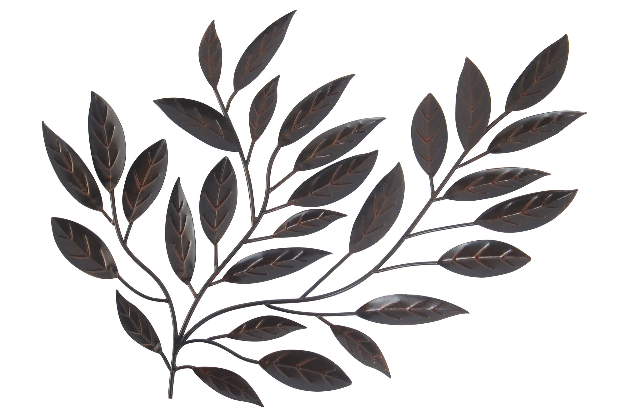 2020 Olive/gray Metal Wall Decor Intended For Forged Metal Leaves – Floral Metal Wall Art (View 2 of 20)