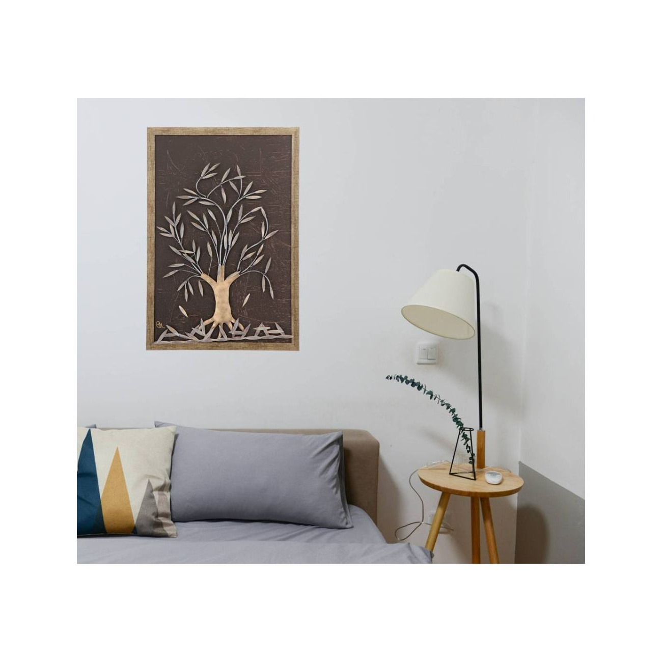 "2020 Olive Tree, 3D Handmade Wood & Metal Wall Art Framed Decor, 25"" (64Cm) Within Olive/gray Metal Wall Decor (View 1 of 20)"