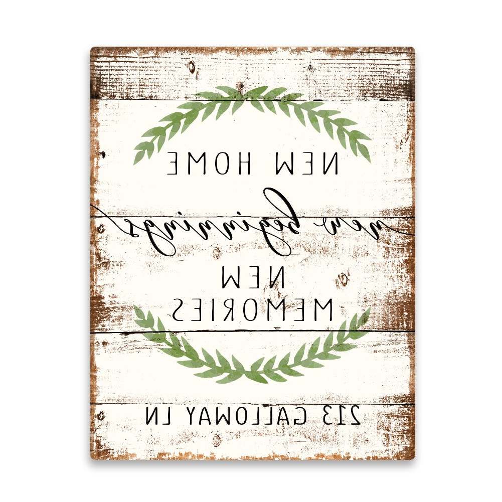 2020 Personalized Distressed Vintage Look Kitchen Metal Sign Wall Decor Regarding Amazon: Pattern Pop Personalized New Home New Beginnings New (Gallery 19 of 20)