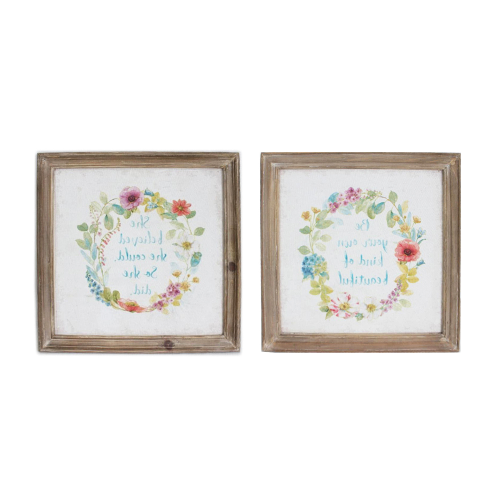 2x Shabby Chic Wooden Framed Floral Wreath Canvas Print Picture Wall In Current Floral Wreath Wood Framed Wall Decor (View 7 of 20)