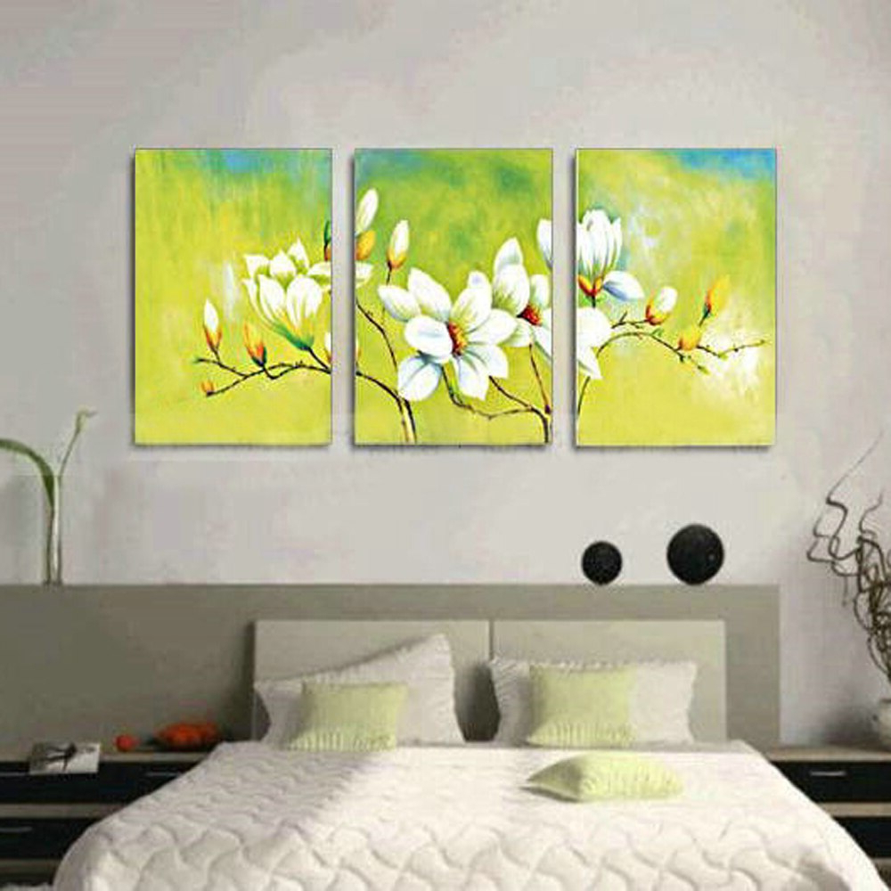 3 Panel Wall Art Modern Abstract White Orchid Flower Hand Painted Regarding Well Known Abstract Bar And Panel Wall Decor (Gallery 19 of 20)