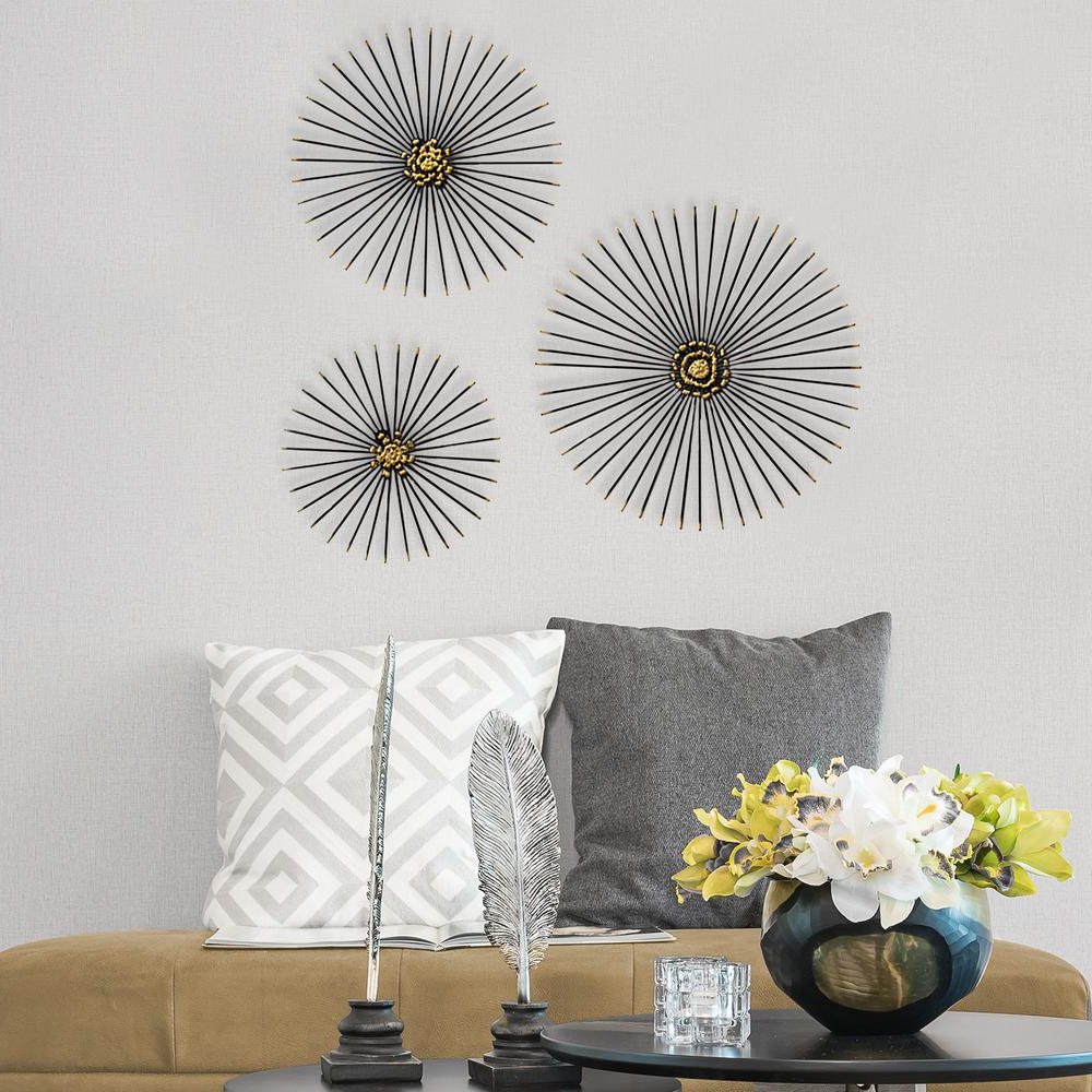 3 Piece Acrylic Burst Wall Decor Sets (Set Of 3) Regarding Most Recently Released Stratton Home Decor Trio Starburst Wall Decor S07674 – The Home Depot (View 16 of 20)