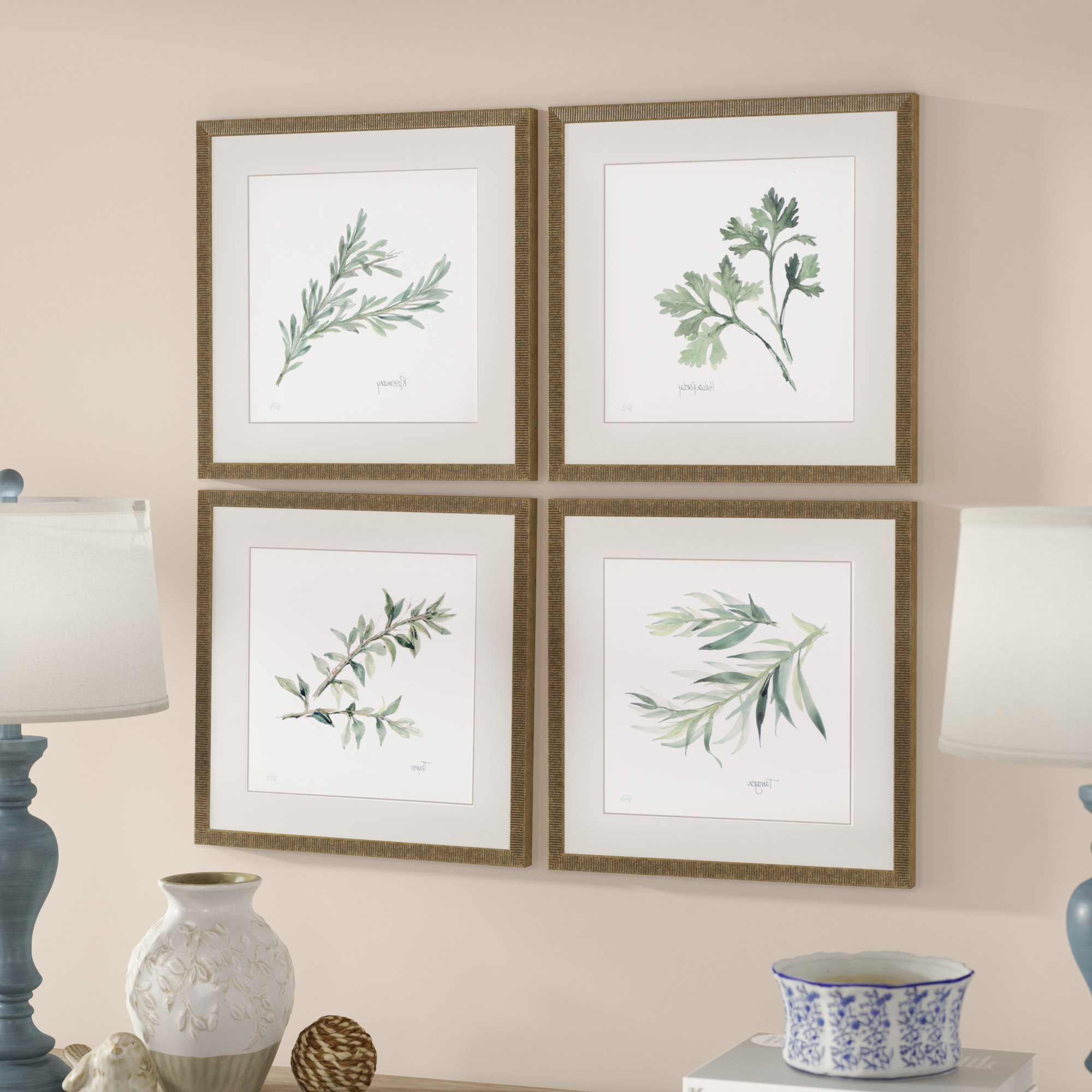 3 Piece Ceramic Flowers Wall Decor Sets In Most Up To Date Lark Manor 'herbs' 4 Piece Framed Graphic Art Print Set & Reviews (Gallery 12 of 20)