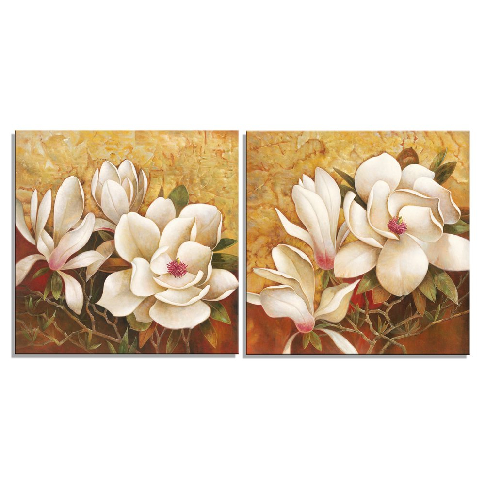 3 Piece Magnolia Brown Panel Wall Decor Sets In Recent Amazon: Pyradecor Magnolia Flowers Modern 2 Piece Stretched And (Gallery 5 of 20)