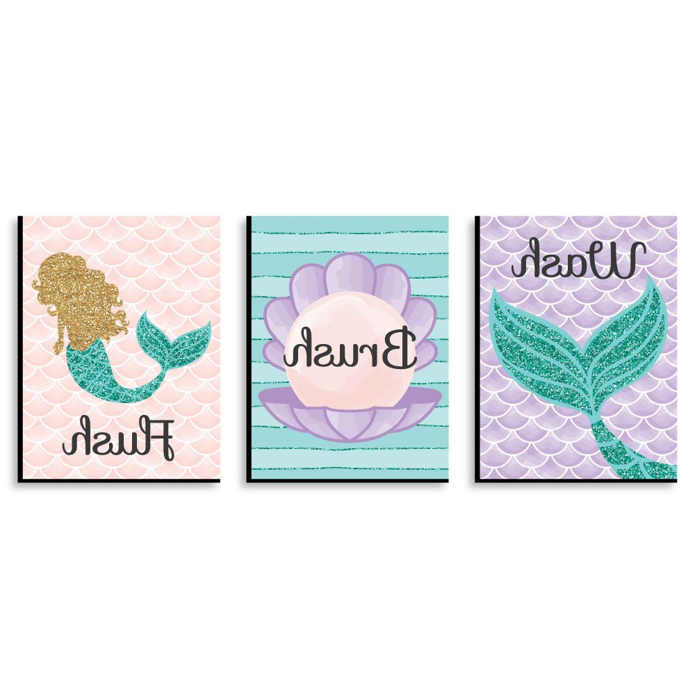 3 Piece Wash, Brush, Comb Wall Decor Sets (Set Of 3) Within Recent Amazon: Let's Be Mermaids – Kids Bathroom Rules Wall Art – 7.5 (Gallery 7 of 20)