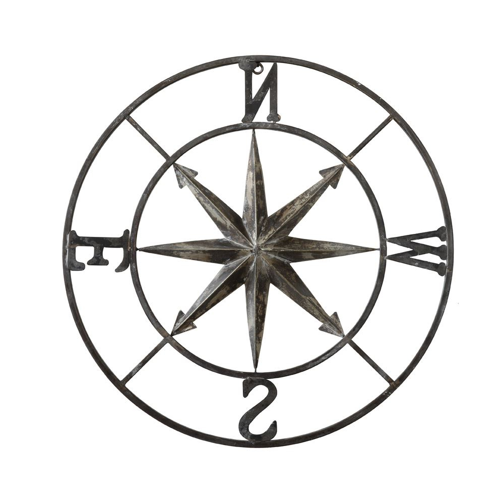 "30"" Round Metal Compass Wall Decor Intended For Best And Newest Round Compass Wall Decor (View 2 of 20)"