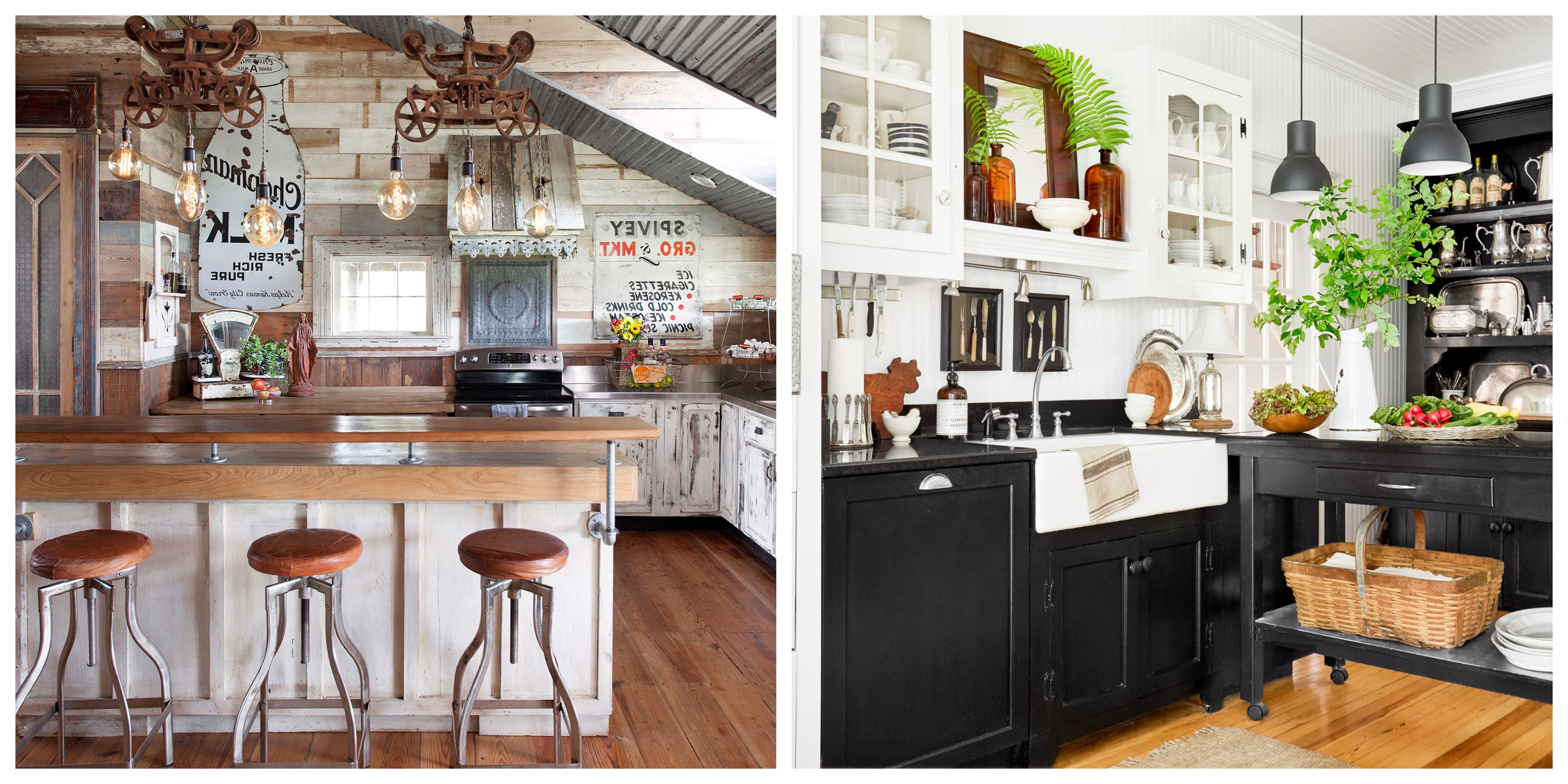 34 Farmhouse Style Kitchens – Rustic Decor Ideas For Kitchens Regarding Preferred Farm Metal Wall Rack And 3 Tin Pot With Hanger Wall Decor (View 20 of 20)
