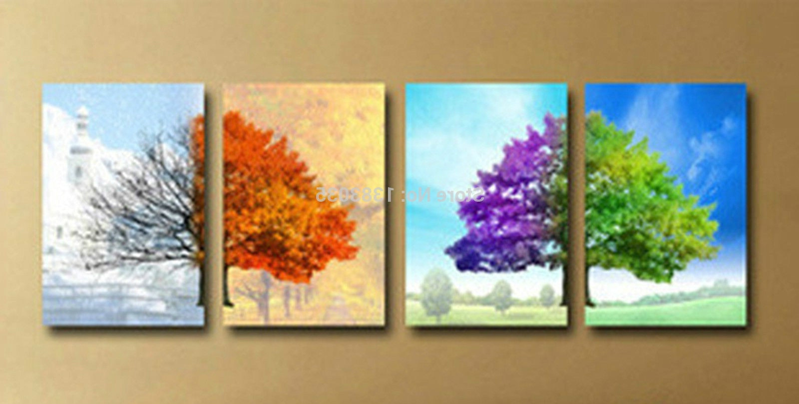4 Piece Wall Decor Sets For Famous Hand Painted Modern 4 Seasons Tree Wall Art Abstract Oil Painting On (Gallery 6 of 20)