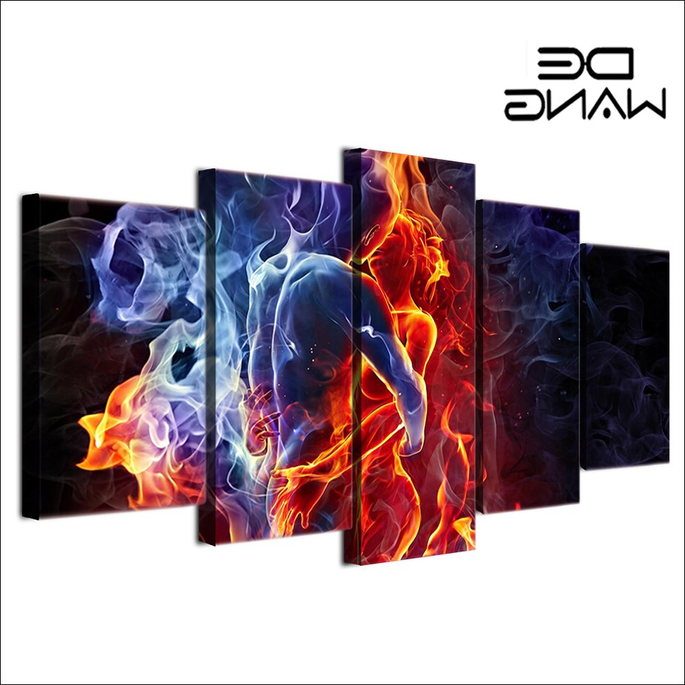 Abstract Bar And Panel Wall Decor Intended For Recent 5 Panel Painting Hd Printed Flame Figures Human Hug Pictures (View 3 of 20)