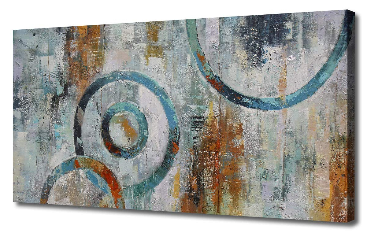 Abstract Bar And Panel Wall Decor Pertaining To Latest Amazon: Canvas Wall Art Prints Abstract Geometry Circle Blocks (View 4 of 20)