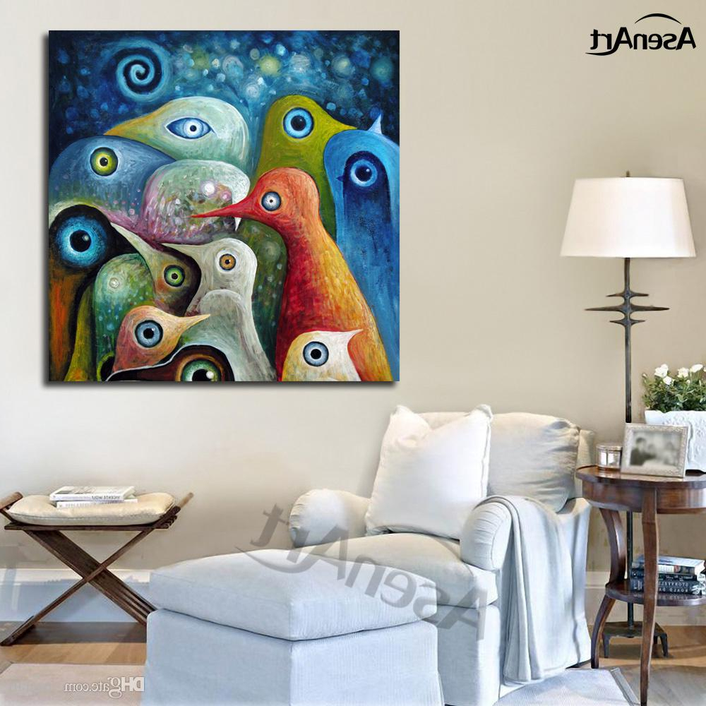 Abstract Bar And Panel Wall Decor With Regard To Favorite Ful Abstract Birds Modernism Oil Painting Printed On Canvas Mural (Gallery 13 of 20)