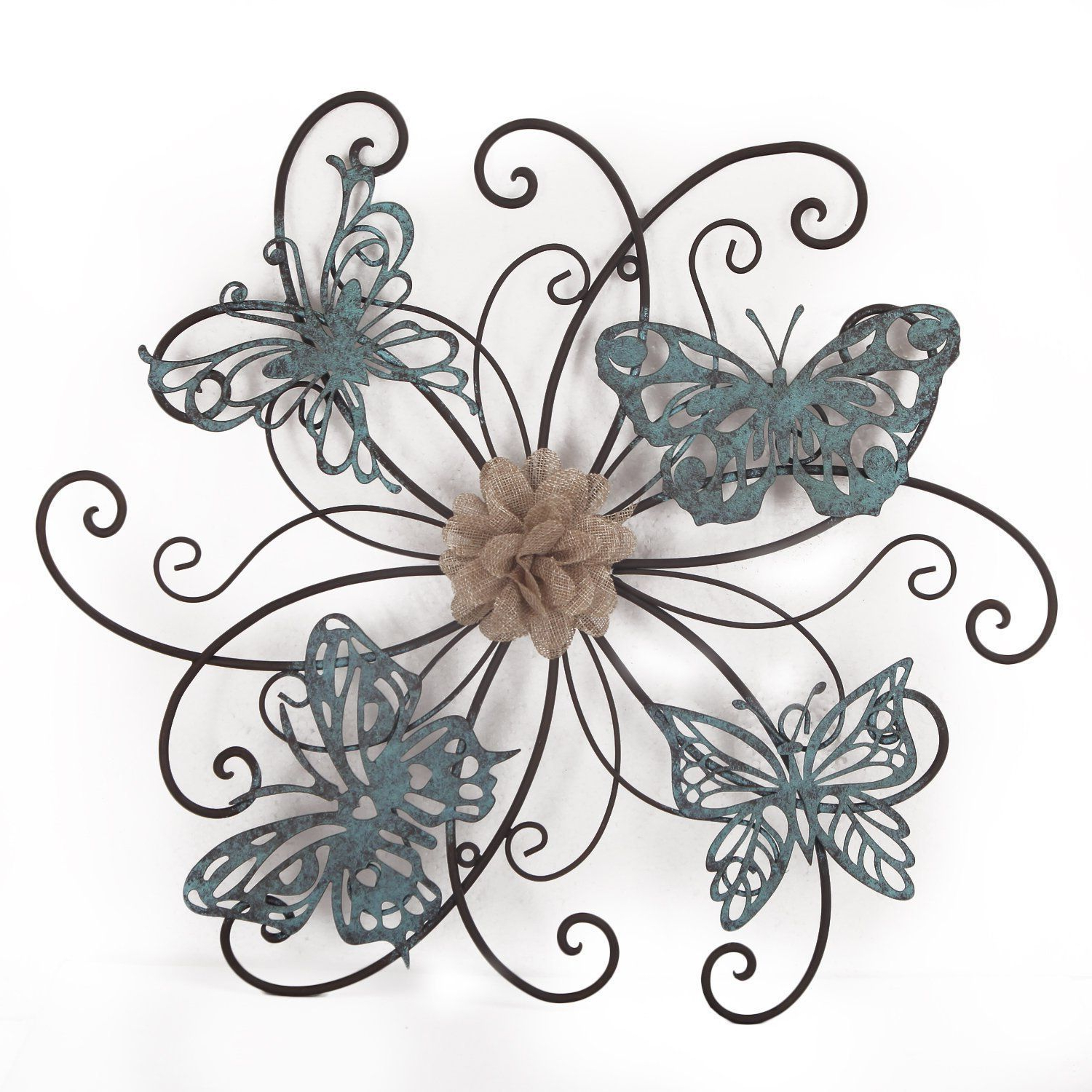 Adeco Flower And Butterfly Urban Design Metal (Grey) Wall Decor For Throughout Most Recent Flower Urban Design Metal Wall Decor (Gallery 3 of 20)