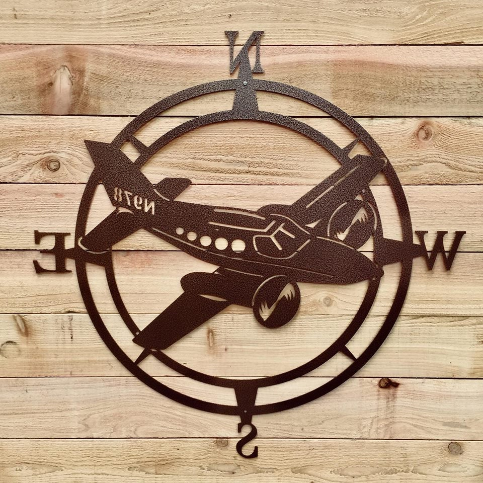 Airplane Compass Wall Art, Aviation Metal Wall Art, Aviation Outdoor For Widely Used Outdoor Metal Wall Compass (Gallery 6 of 20)