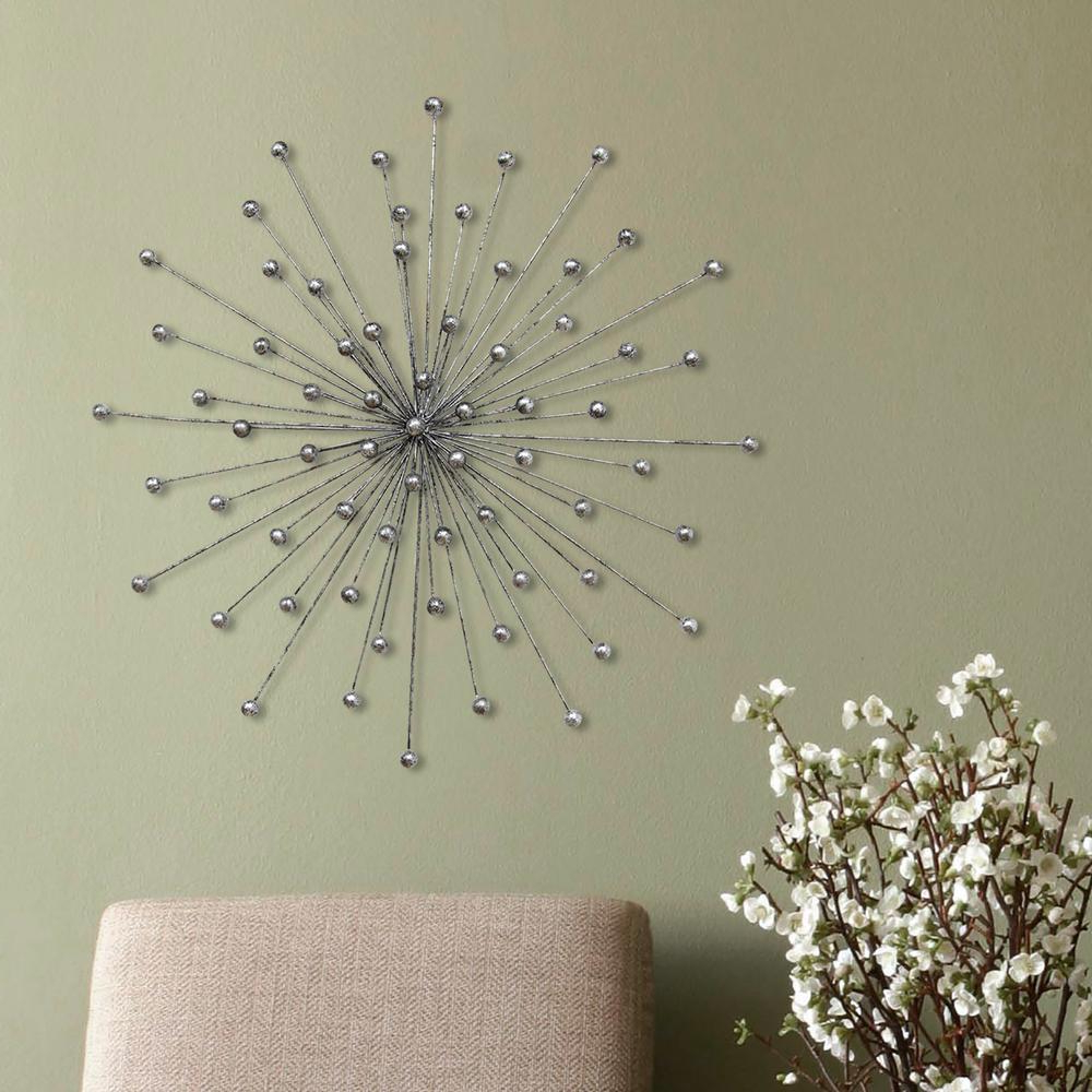 Alvis Traditional Metal Wall Decor Throughout Well Liked Stratton Home Decor Silver Burst Wall Decor In  (View 9 of 20)