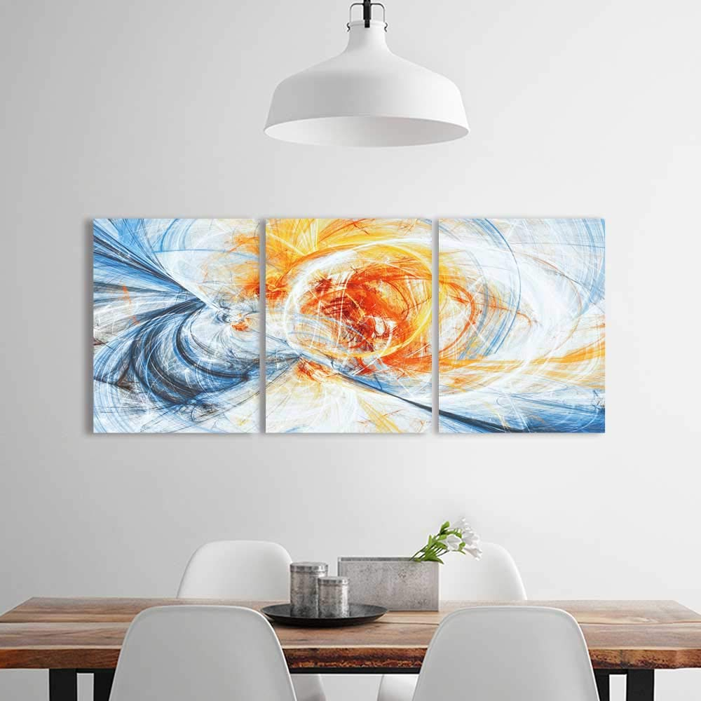 Amazon: 3 Panel Wall Art Set Frameless Sunlight Bright Dynamic Within Well Known Abstract Bar And Panel Wall Decor (View 7 of 20)