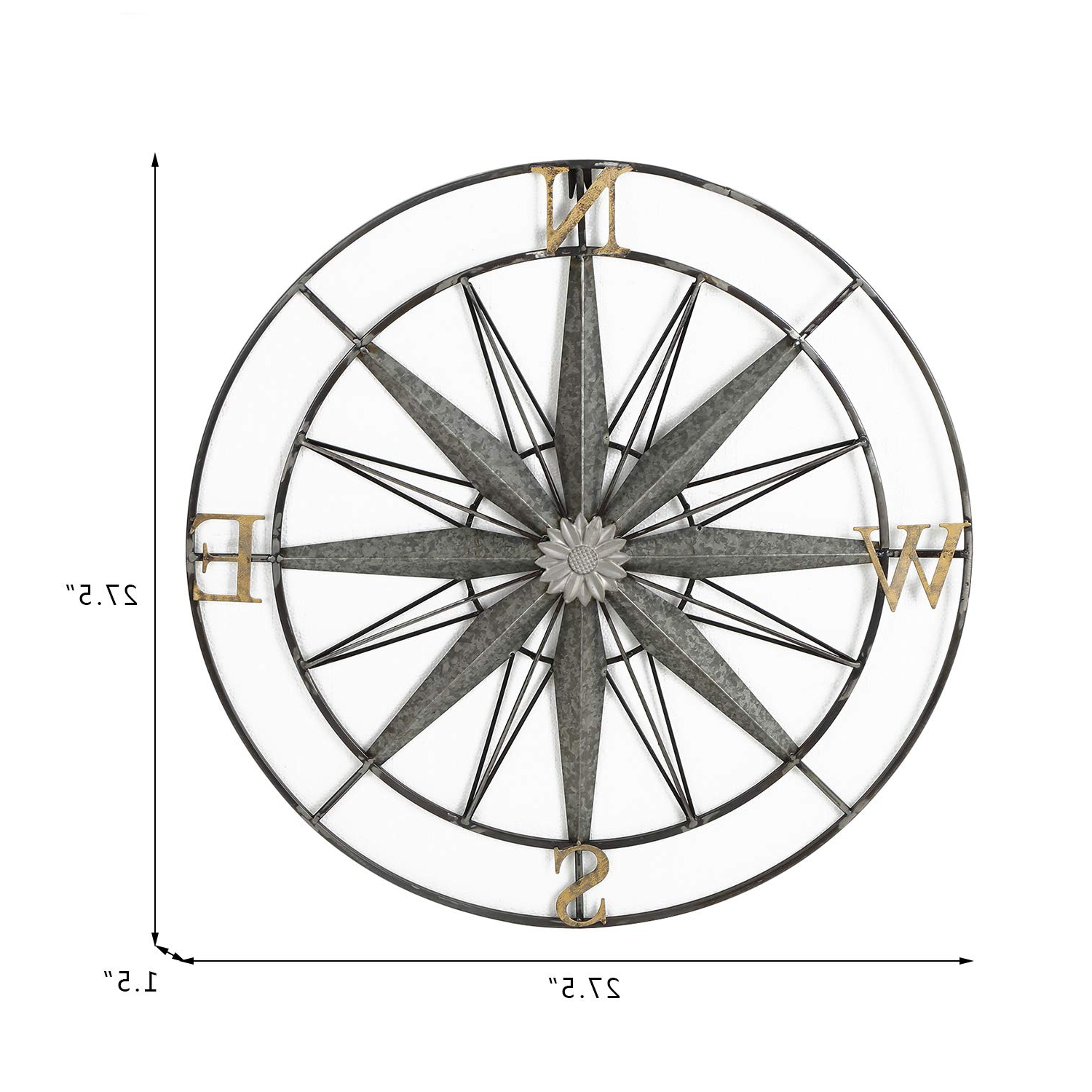 Amazon: Adeco Decorative Compass Metal Wall Hanging Art Decor With 2019 Round Compass Wall Decor (View 3 of 20)