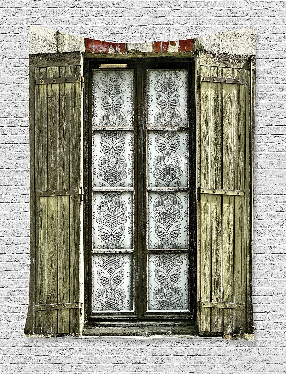 Amazon: Ambesonne Shutters Decor Collection, European French Pertaining To Most Up To Date Shutter Window Hanging Wall Decor (View 6 of 20)