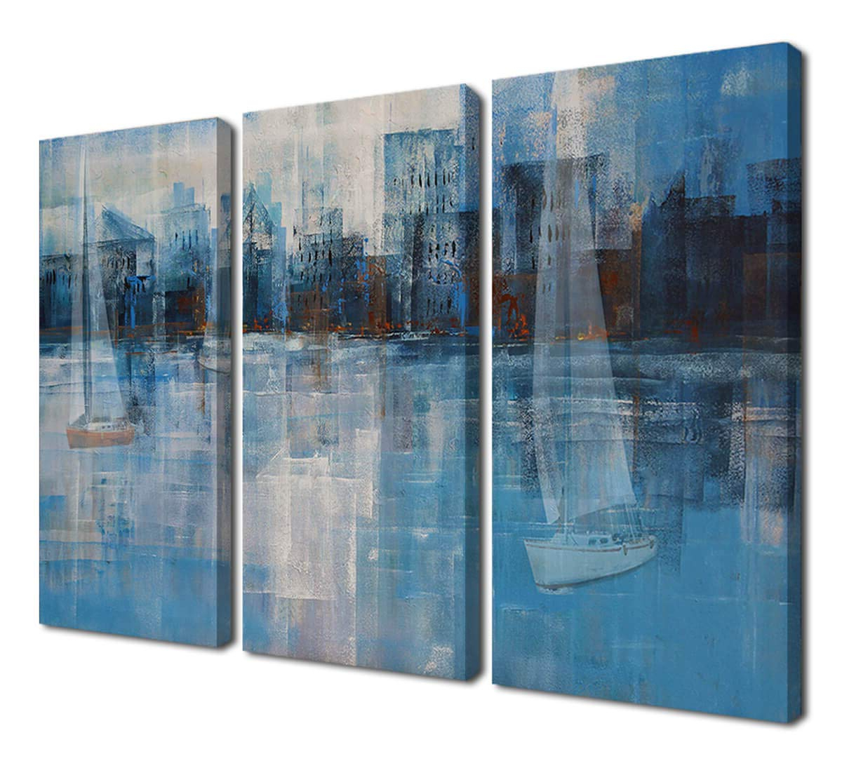 Amazon: Ardemy Abstract Canvas Wall Art Prints Modern Blue Tones With Most Popular Abstract Bar And Panel Wall Decor (View 8 of 20)
