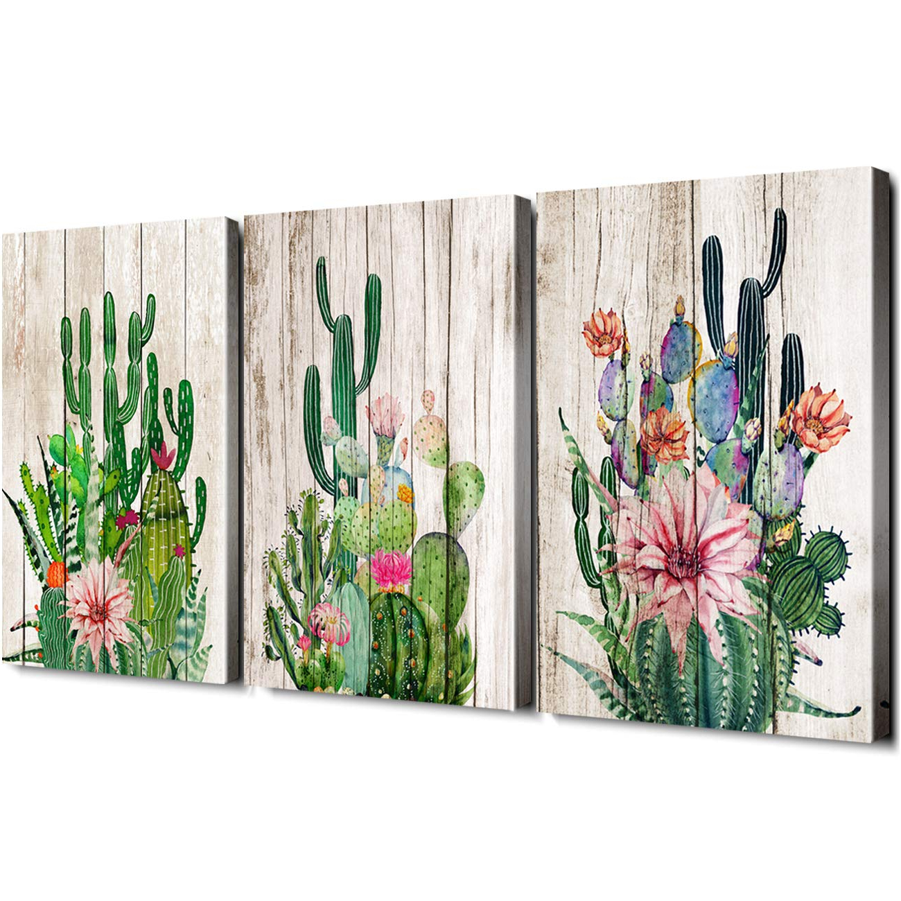 Amazon: Cactus Decor Bathroom Canvas Prints Wall Art Green For Fashionable 3 Piece Ceramic Flowers Wall Decor Sets (Gallery 10 of 20)