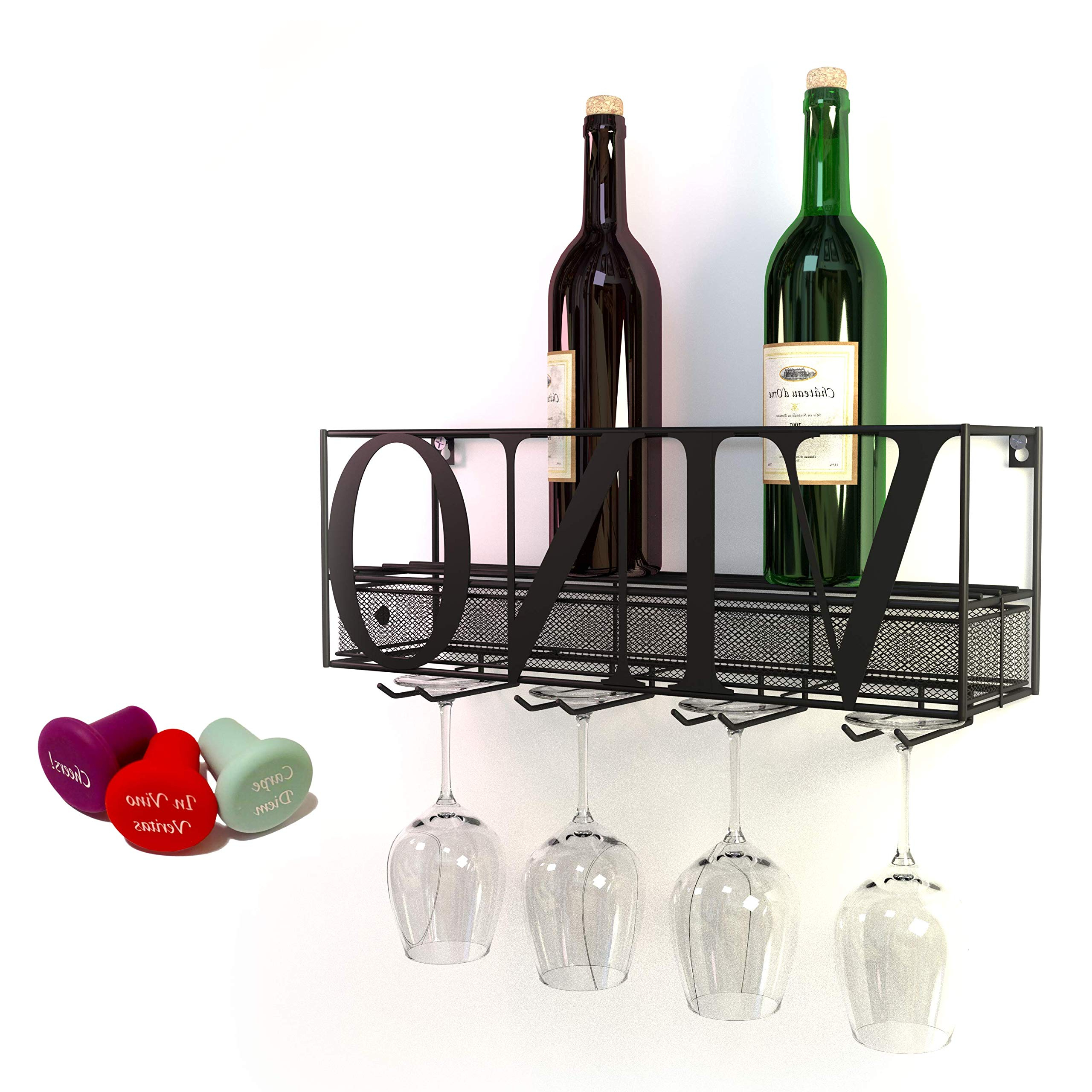 Amazon: Chevalier Wall Mounted Wine Rack With Glass & Bottle Within Popular Three Glass Holder Wall Decor (View 3 of 20)