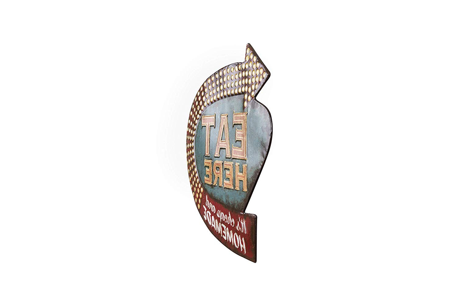 Amazon: Creative Co Op Eat Here Tin Retro Wall Decor: Home & Kitchen Within Fashionable Casual Country Eat Here Retro Wall Decor (Gallery 10 of 20)