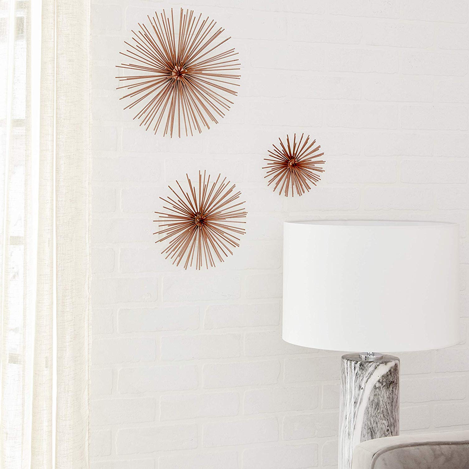 Amazon: Deco 79 50373 Contemporary Style 3D Round Copper Metal Pertaining To Most Up To Date 2 Piece Starburst Wall Decor Sets (View 5 of 20)