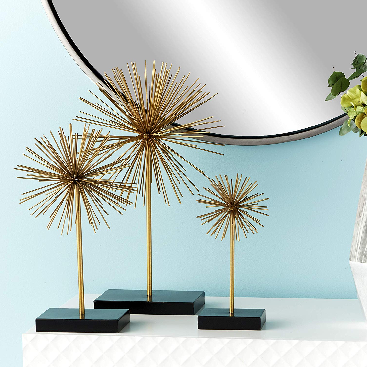 Amazon: Deco 79 50384 Tall Contemporary Style 3D Round Gold Intended For Recent Set Of 3 Contemporary 6, 9, And 11 Inch Gold Tin Starburst Sculptures (View 4 of 20)