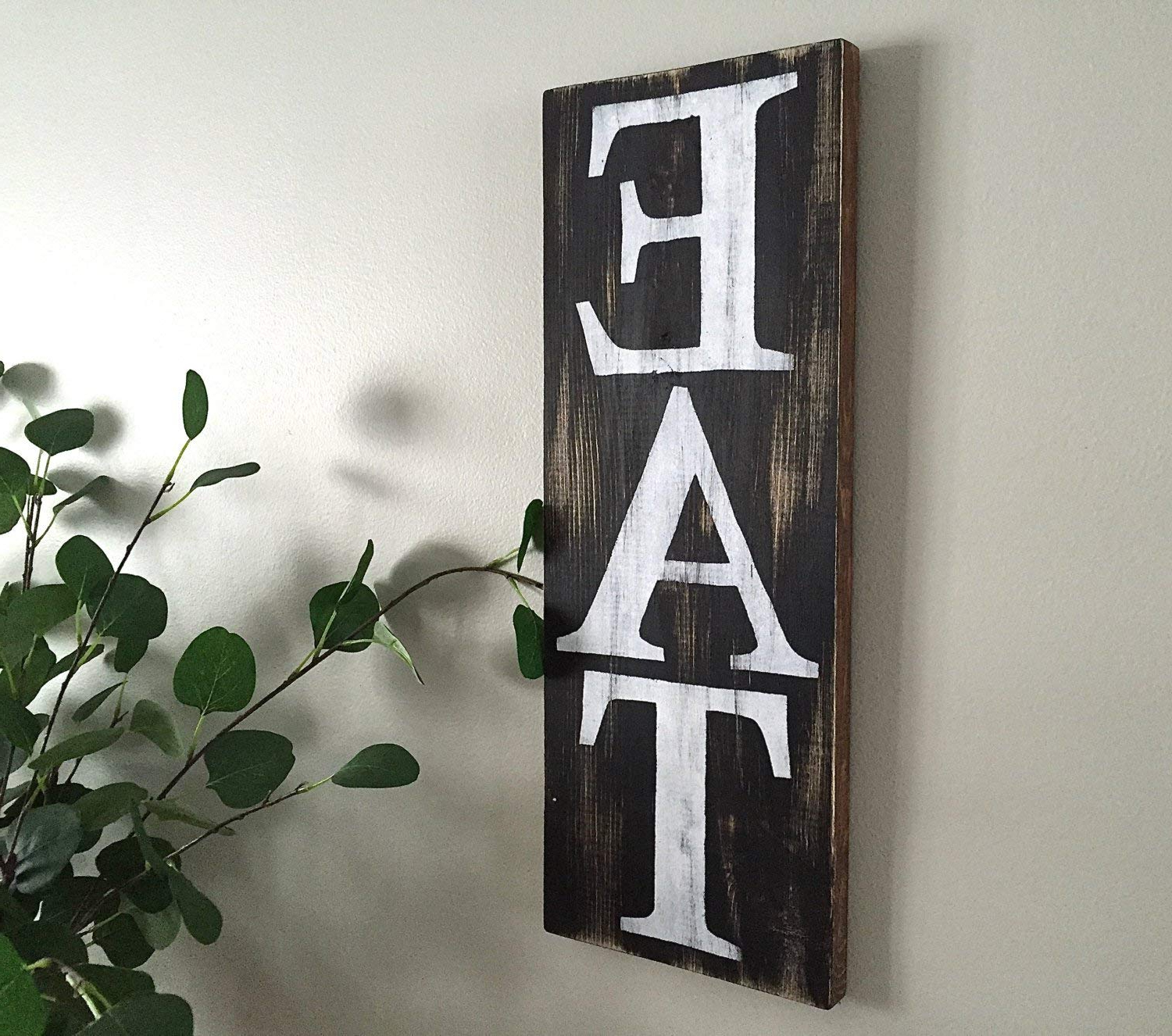 Amazon: Eat Sign Bw Kitchen Wood Sign Plaque Decor Kitchen Sign With Most Recent Eat Rustic Farmhouse Wood Wall Decor (Gallery 12 of 20)