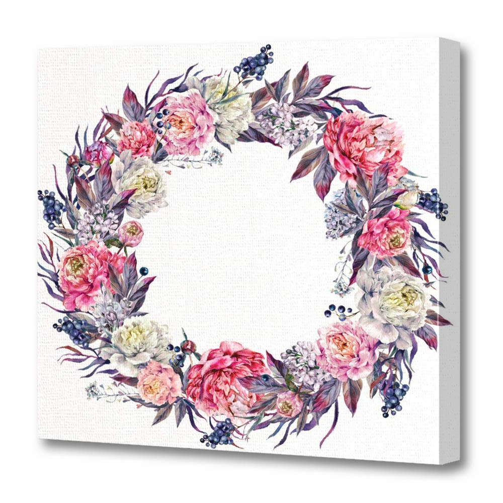 Amazon: Emvency Canvas Prints Square 16x16 Inches Watercolor Within Fashionable Floral Wreath Wood Framed Wall Decor (View 13 of 20)