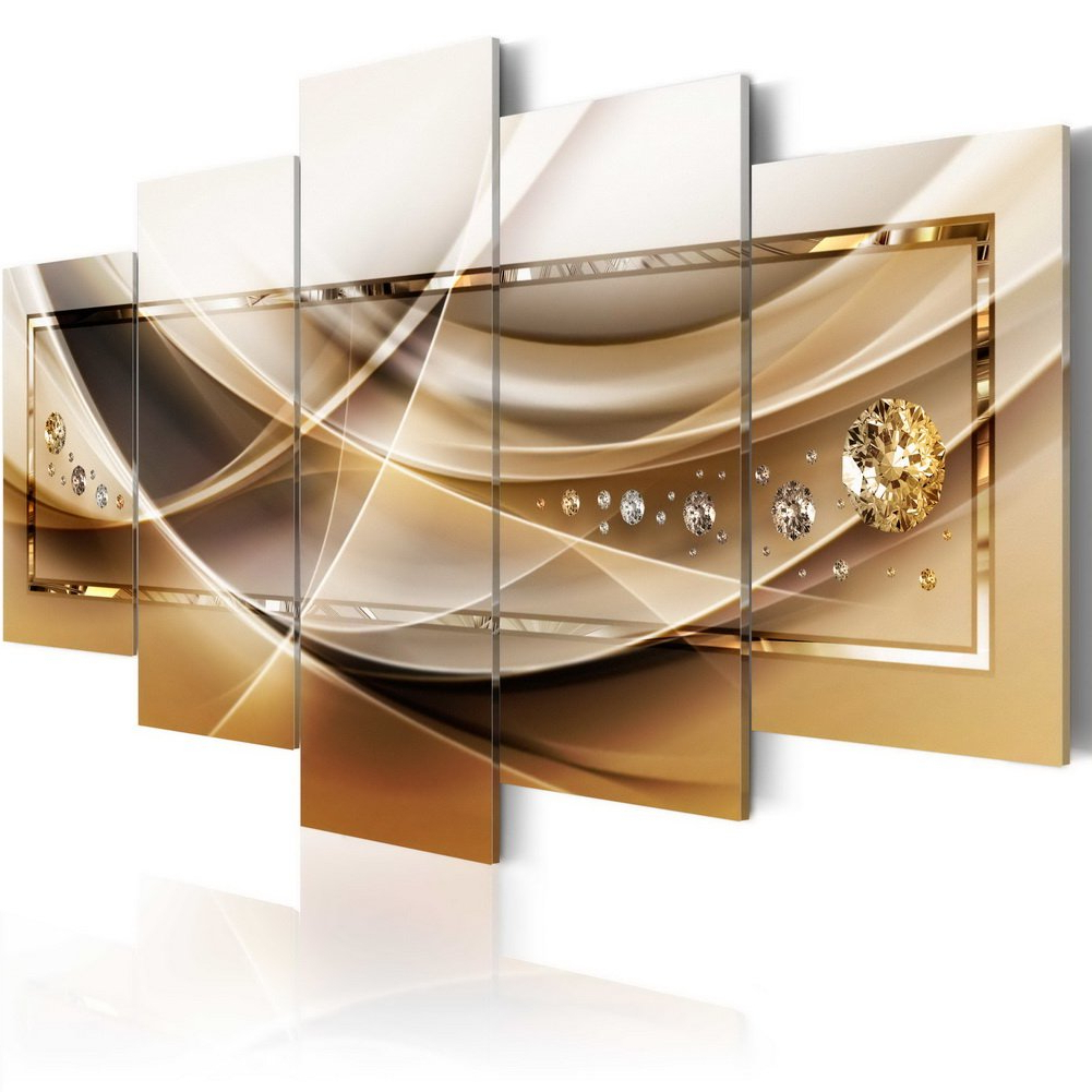 Amazon: Golden Canvas Painting Print Art Huge Modern Wall Decor With Current 4 Piece Metal Wall Decor Sets (View 3 of 20)