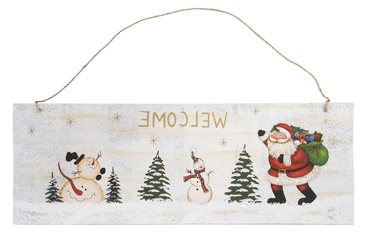 Amazon: Juvale Christmas Welcome Sign – Rustic Metal Door Wall Within Recent Tree Welcome Sign Wall Decor (View 11 of 20)