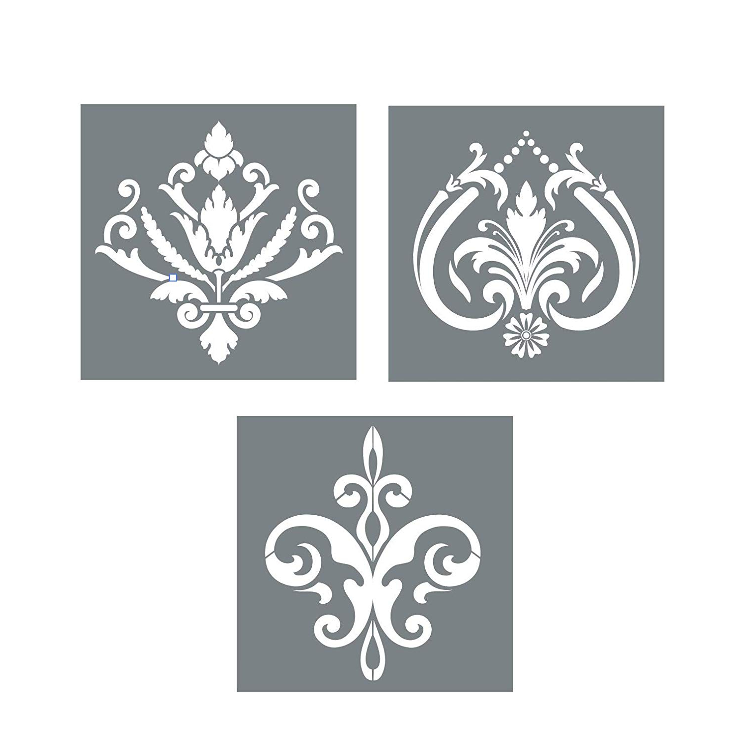Amazon: Large Damask Stencil Set – Pack Of 3 Unique Fleur De Lis With Well Known 2 Piece Metal Wall Decor Sets By Fleur De Lis Living (View 4 of 20)