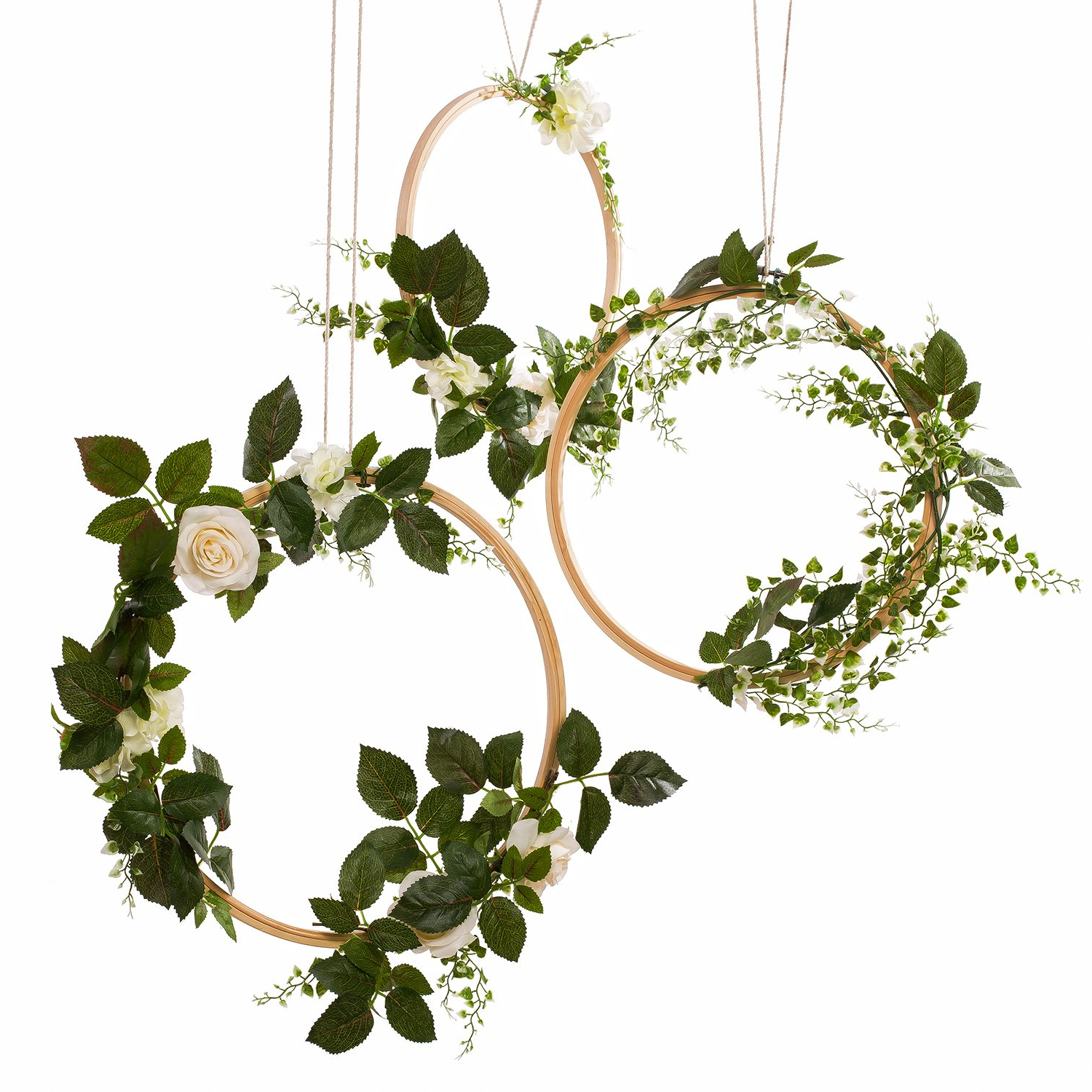 Amazon: Ling's Moment Hoop Wreath, Greenery Wedding Floral Vine Intended For Preferred Three Flowers On Vine Wall Decor (View 2 of 20)