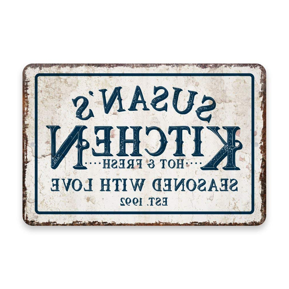 Amazon: Personalized Vintage Distressed Look Kitchen Seasoned Pertaining To Well Liked Personalized Distressed Vintage Look Kitchen Metal Sign Wall Decor (Gallery 2 of 20)