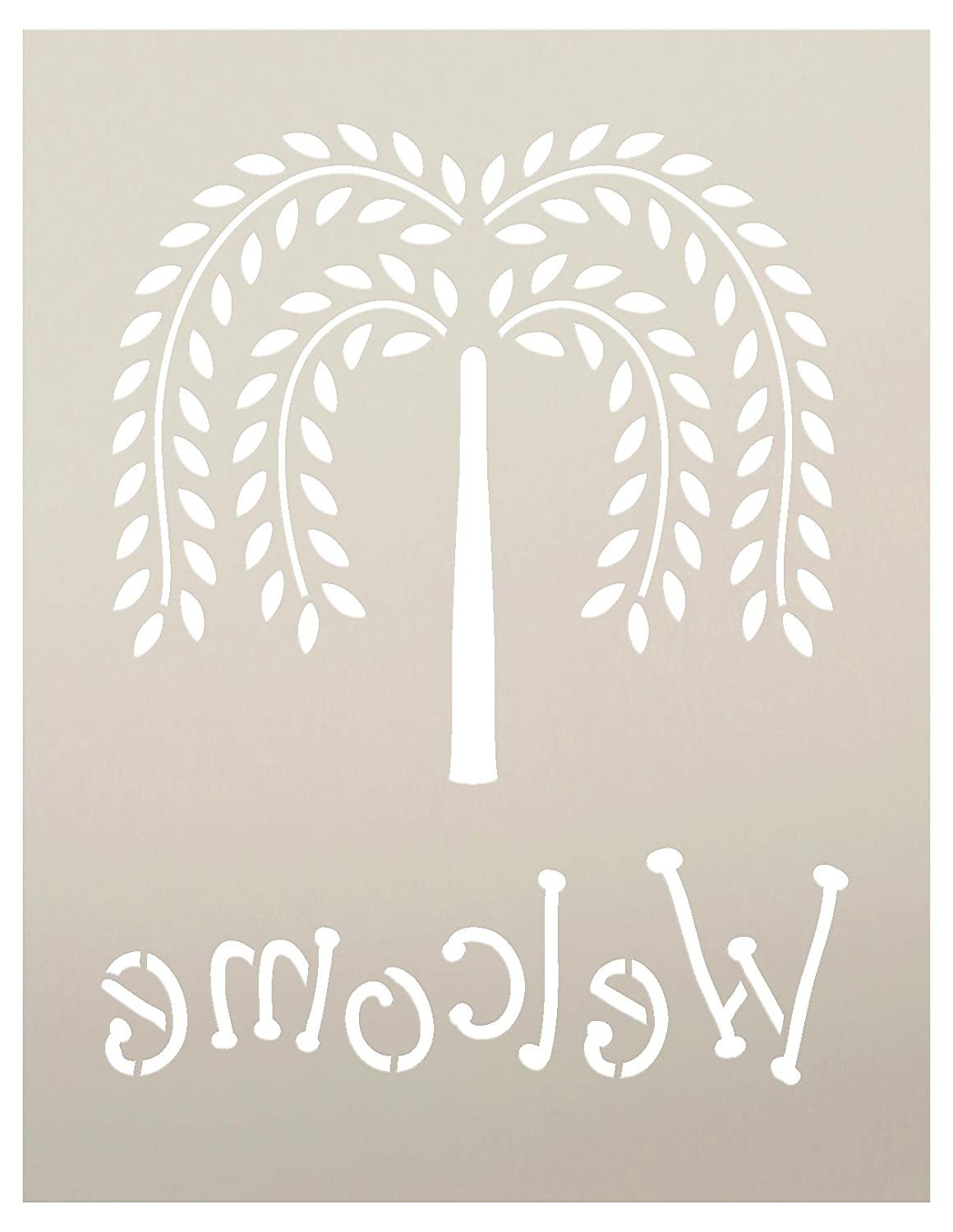 Amazon: Primitive Willow Tree Welcome Word Stencilstudior12 Intended For Recent Tree Welcome Sign Wall Decor (View 13 of 20)