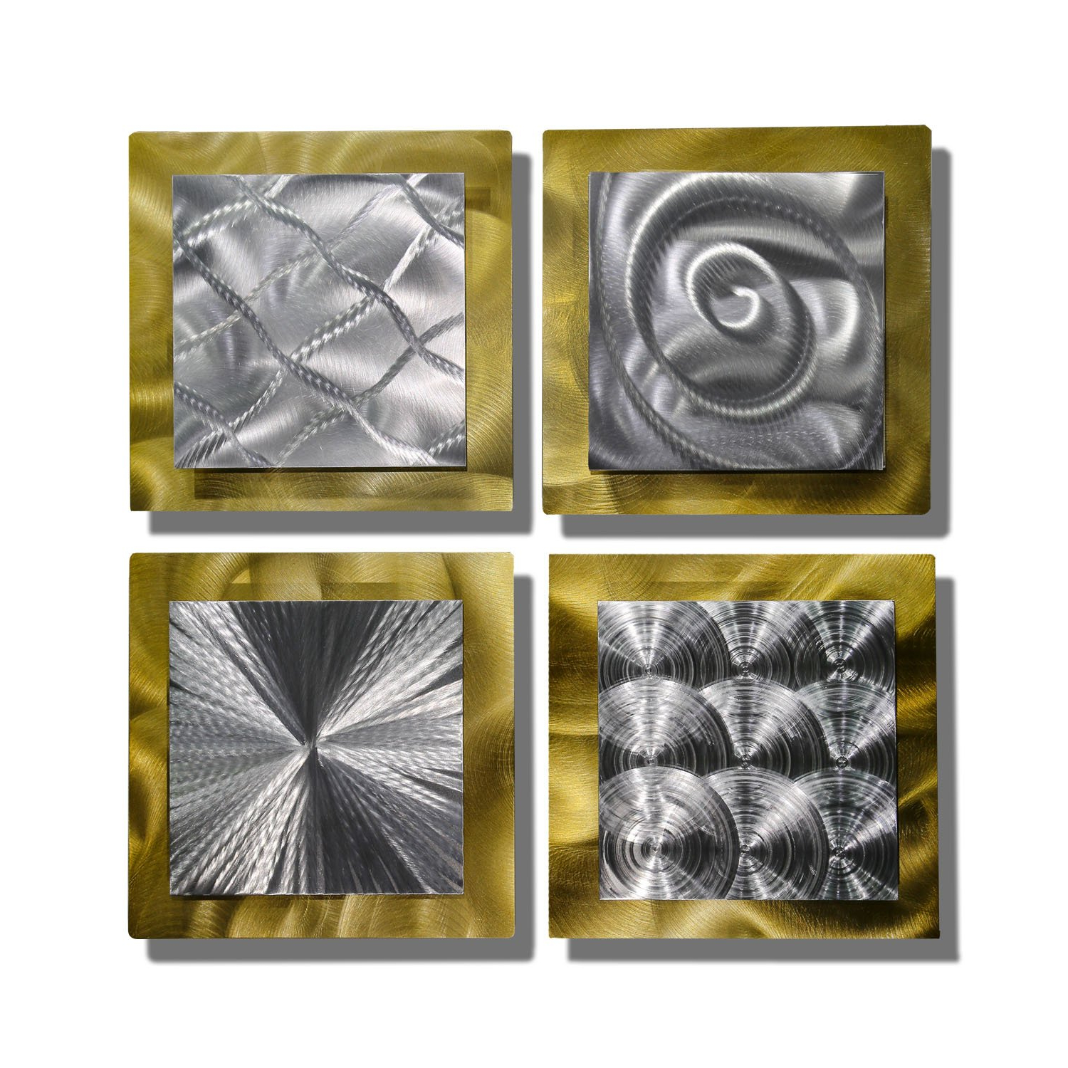 Amazon: Statements2000 Gold & Silver Contemporary Metal Wall Art In Preferred 4 Piece Metal Wall Plaque Decor Sets (View 4 of 20)