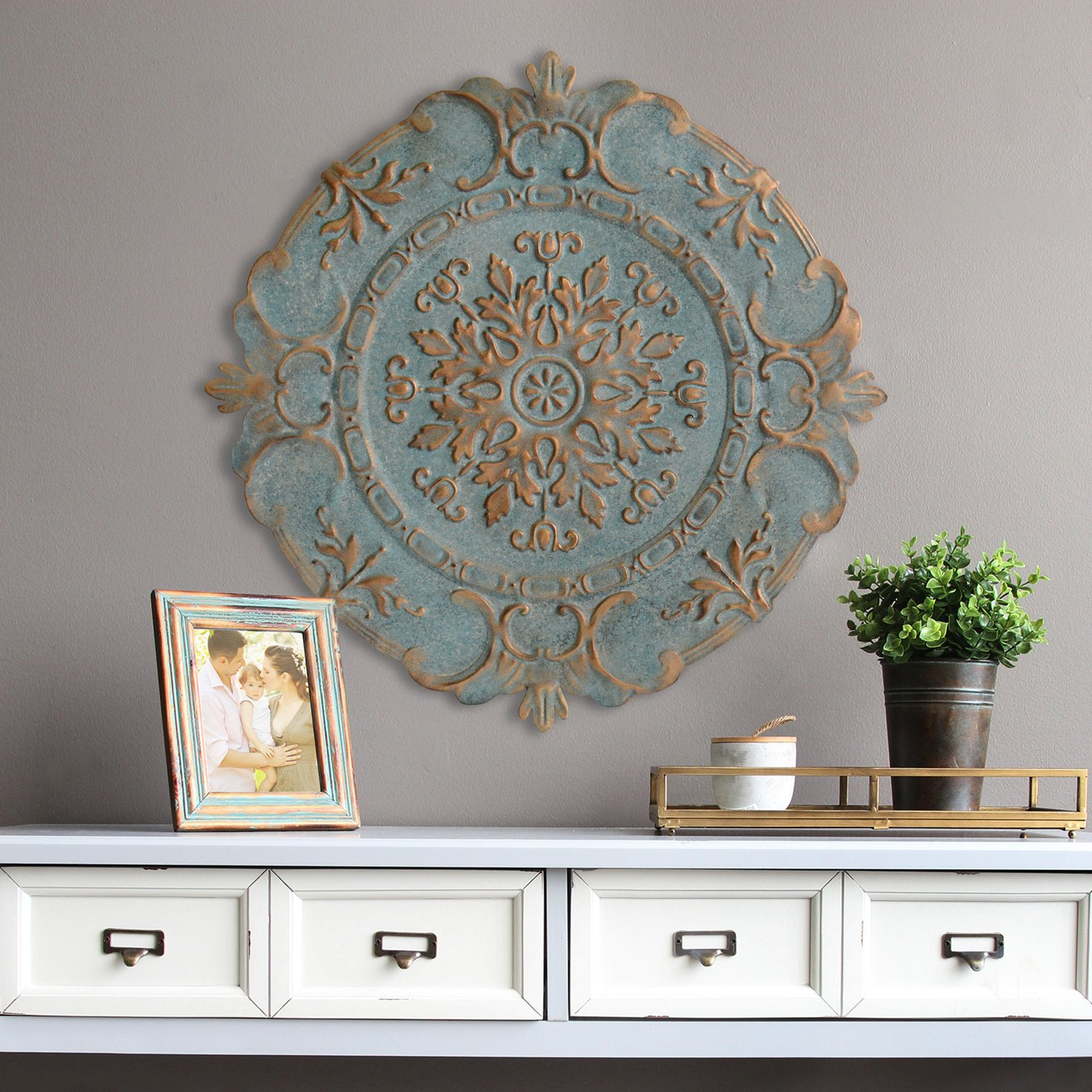 Amazon: Stratton Home Decor European Medallion Wall Decor, Blue In Most Current European Medallion Wall Decor (Gallery 2 of 20)