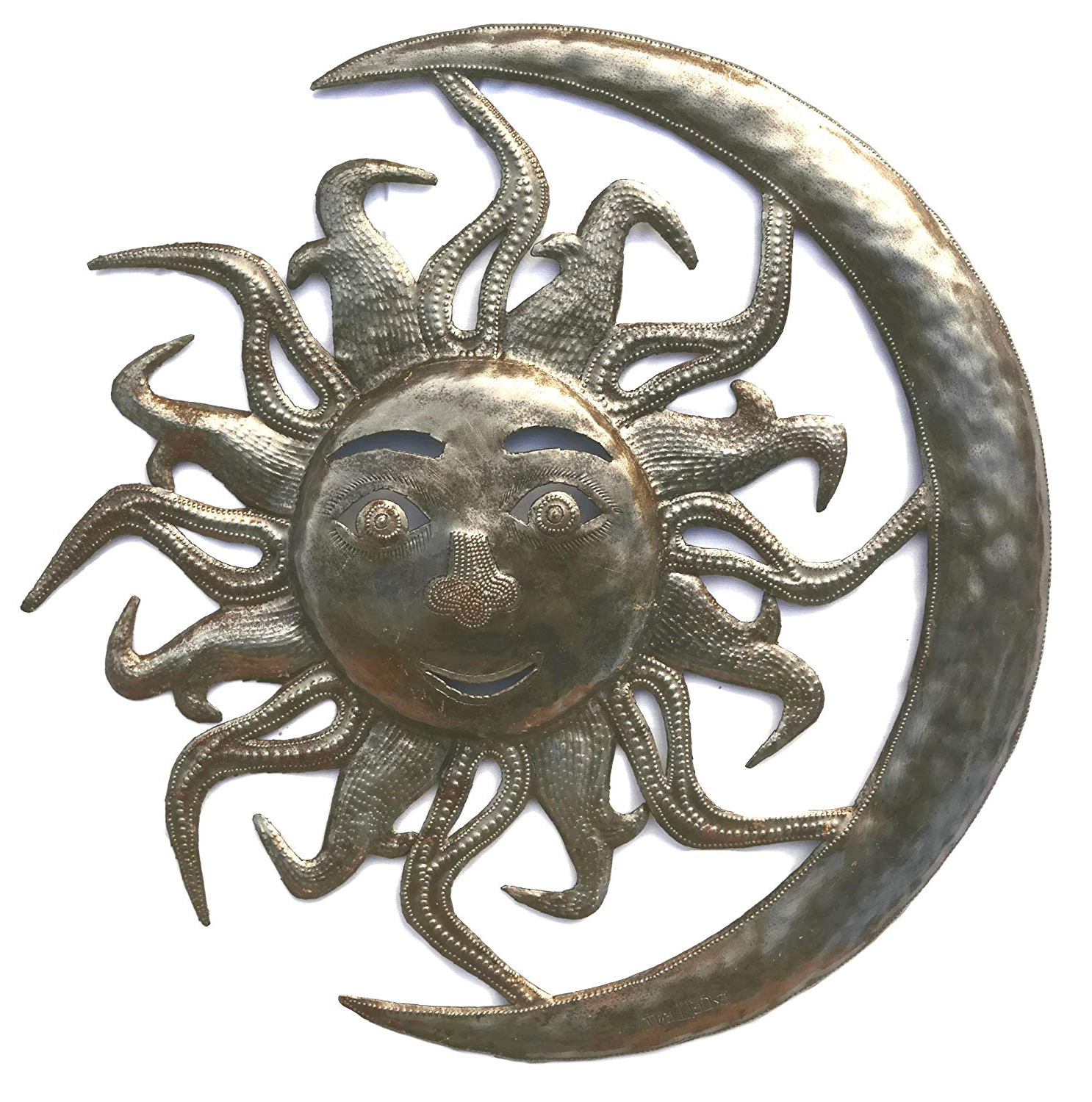 Amazon: Sun In Moon Wall Sculpture, Reclaimed Outdoor Home Art For Preferred Recycled Moon And Sun Wall Decor (View 2 of 20)