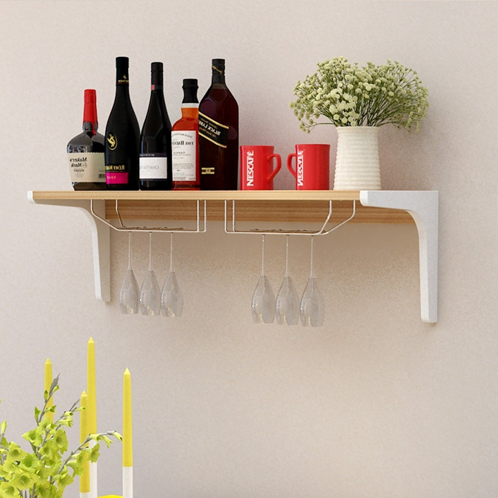 Amazon: Wine Rack Wall Mounted Wooden Simple And Modern Creative Pertaining To 2020 Three Glass Holder Wall Decor (Gallery 6 of 20)