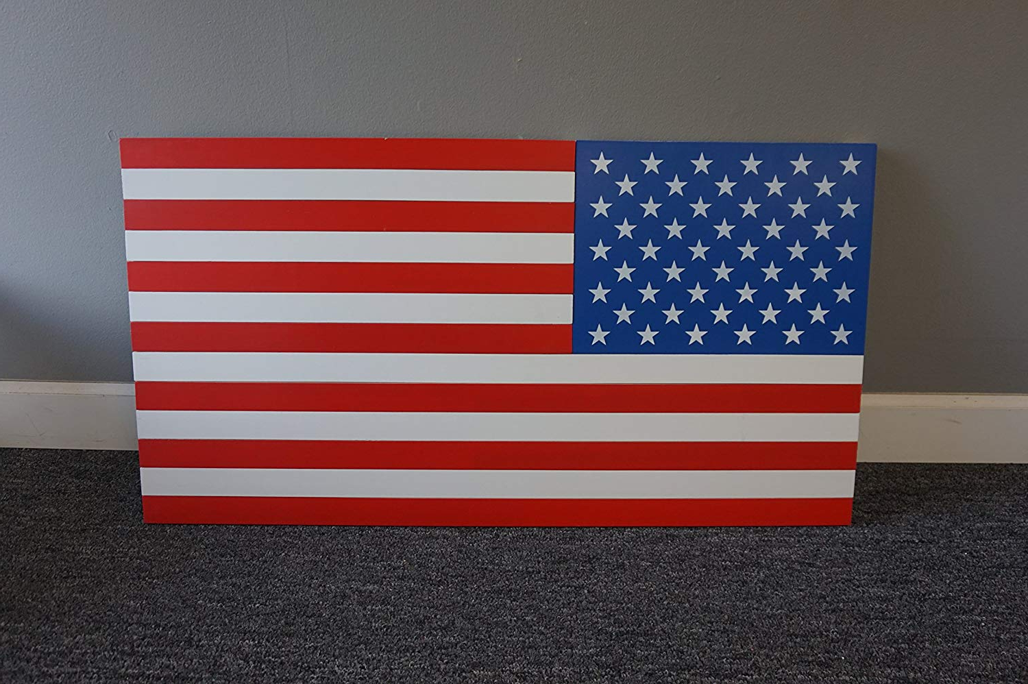 "American Flag 3D Wall Decor Intended For Trendy Amazon: 36"" X 19"" Handmade Patriotic Wooden Americana Flag 3D (View 6 of 20)"
