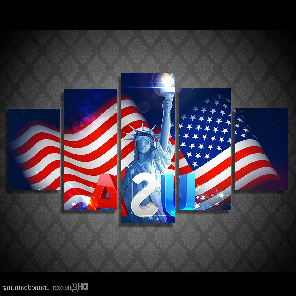 American Flag 3D Wall Decor With Most Recent 2019 Framed Hd Printed Usa Flag Independence Day Picture Wall Art (View 9 of 20)