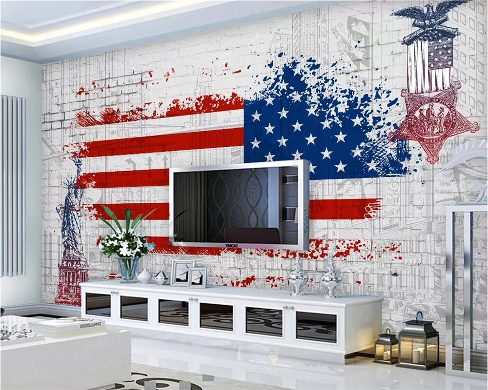 American Flag 3D Wall Decor With Newest Beibehang Custom Wallpaper Retro American Flag Graffiti Tv (View 10 of 20)