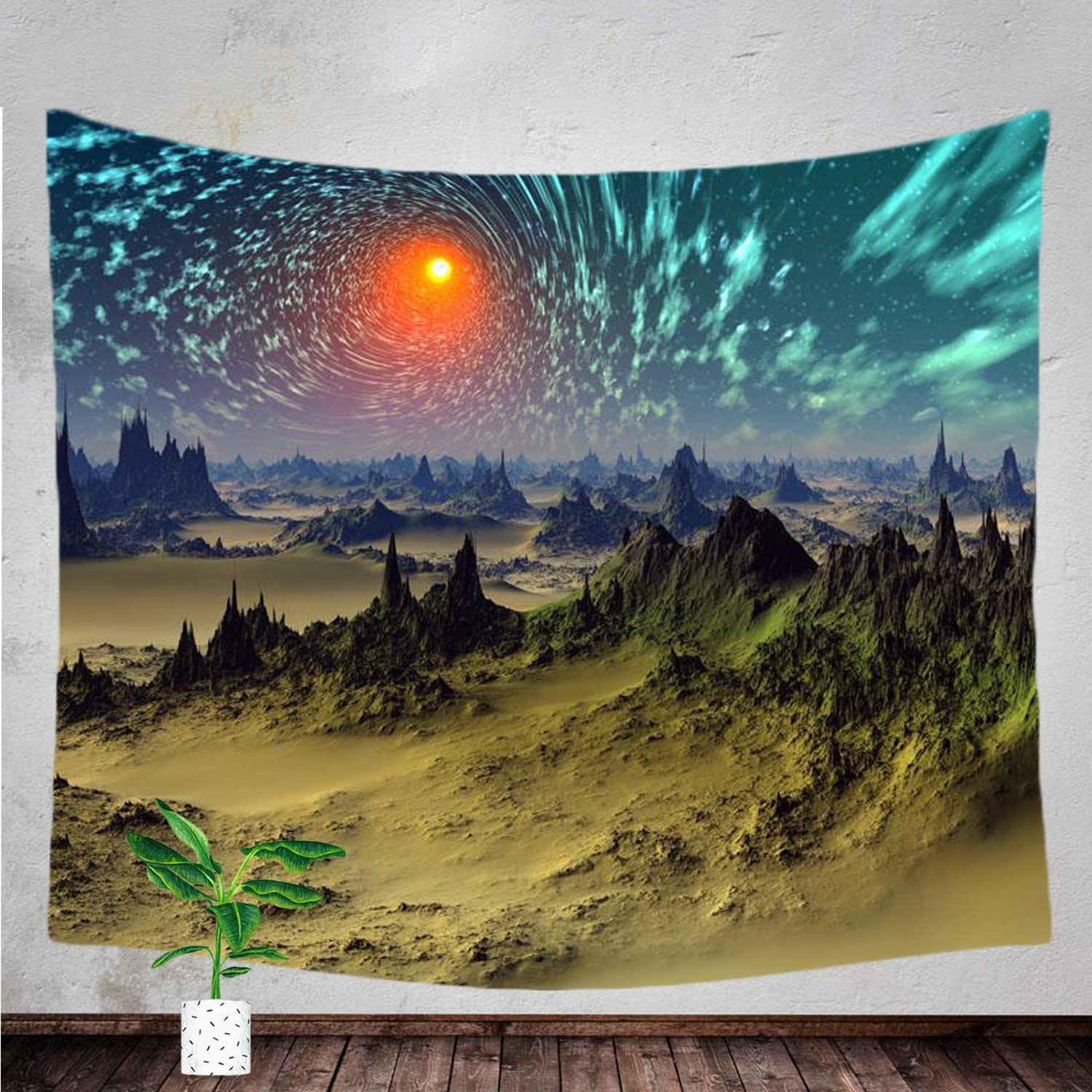 Aurora Sun Wall Decor With Regard To 2020 Amazon: Xmntg Tapestry Sun Starry Sky Aurora Mountain Range Wall (View 7 of 20)