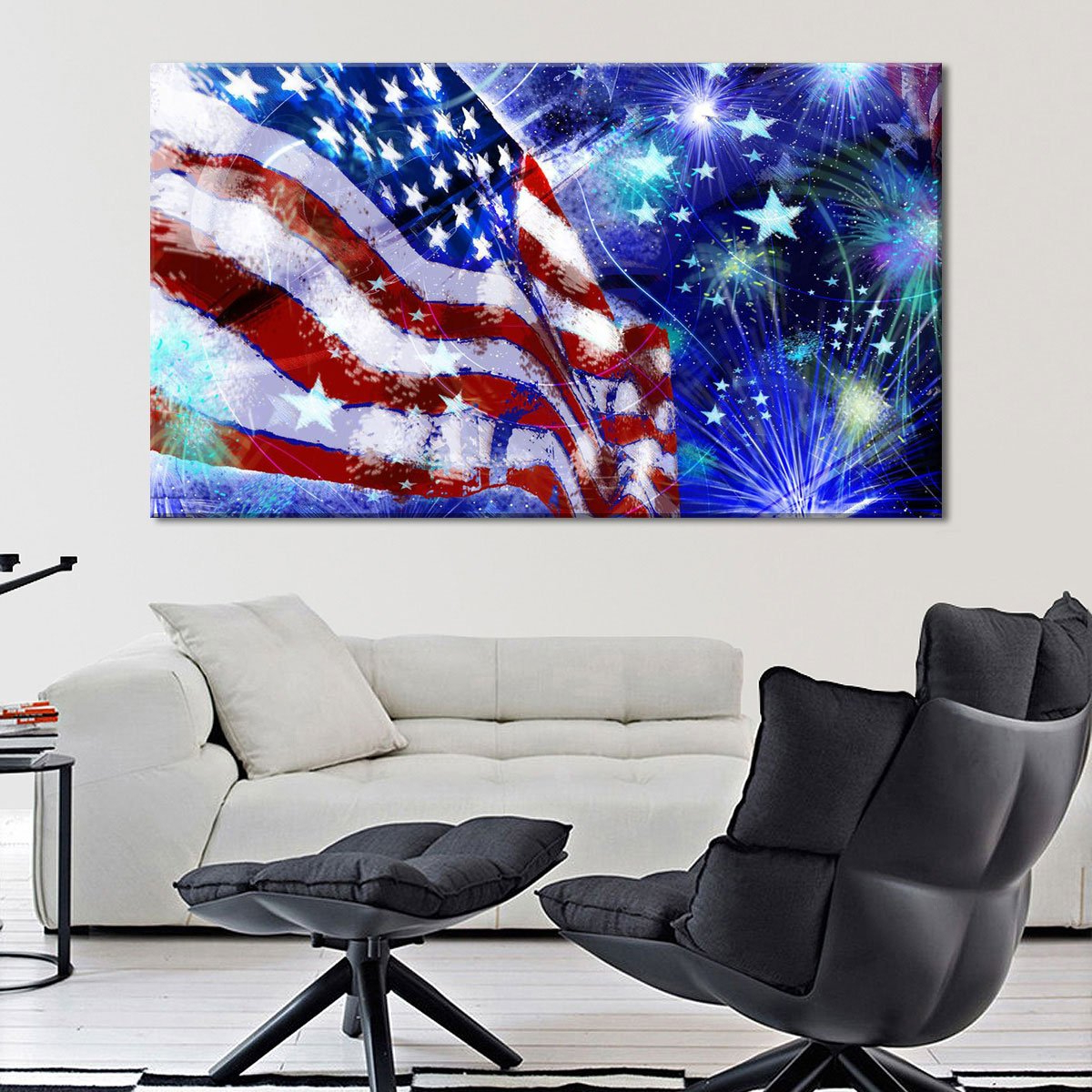 Best And Newest American Flag 3D Wall Decor Within Festaprint Extra Large Wall Art Printing For Home Decor Red White (View 14 of 20)