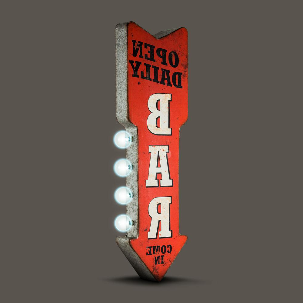 Best And Newest Crystal Art Gallery Open Daily Bar Metal Arrow Vintage Marquee Led With Regard To Casual Country Eat Here Retro Wall Decor (Gallery 15 of 20)