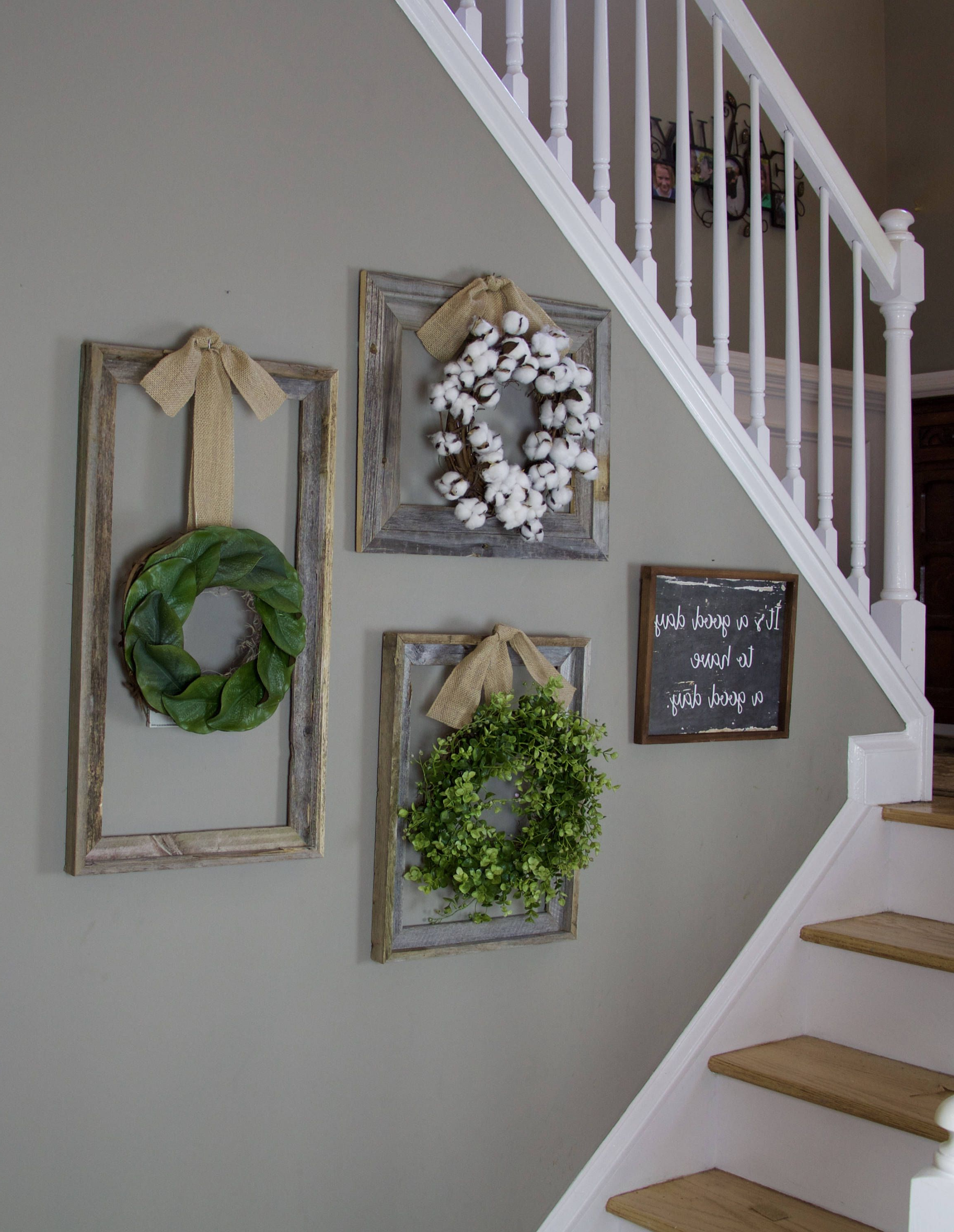 Best And Newest Farmhouse Wreath, Gallery Wall Decor, Rustic Decor, Fixer Upper With Regard To Floral Wreath Wood Framed Wall Decor (Gallery 19 of 20)