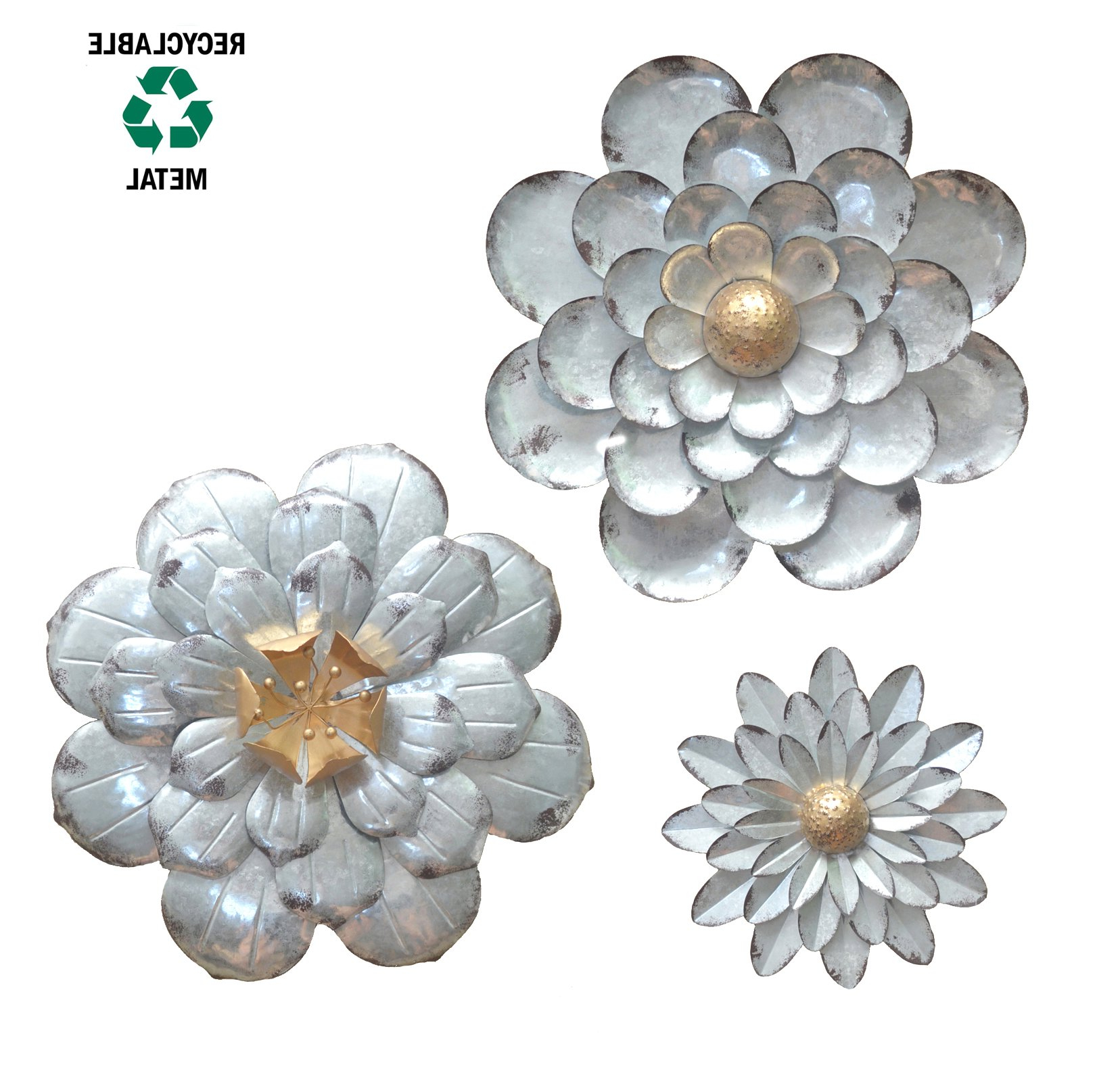 Best And Newest Galvanized Flowers Wall Décor Set Of 3 Metal Flower Wall Art By With Metal Flower Wall Decor (Set Of 3) (Gallery 4 of 20)