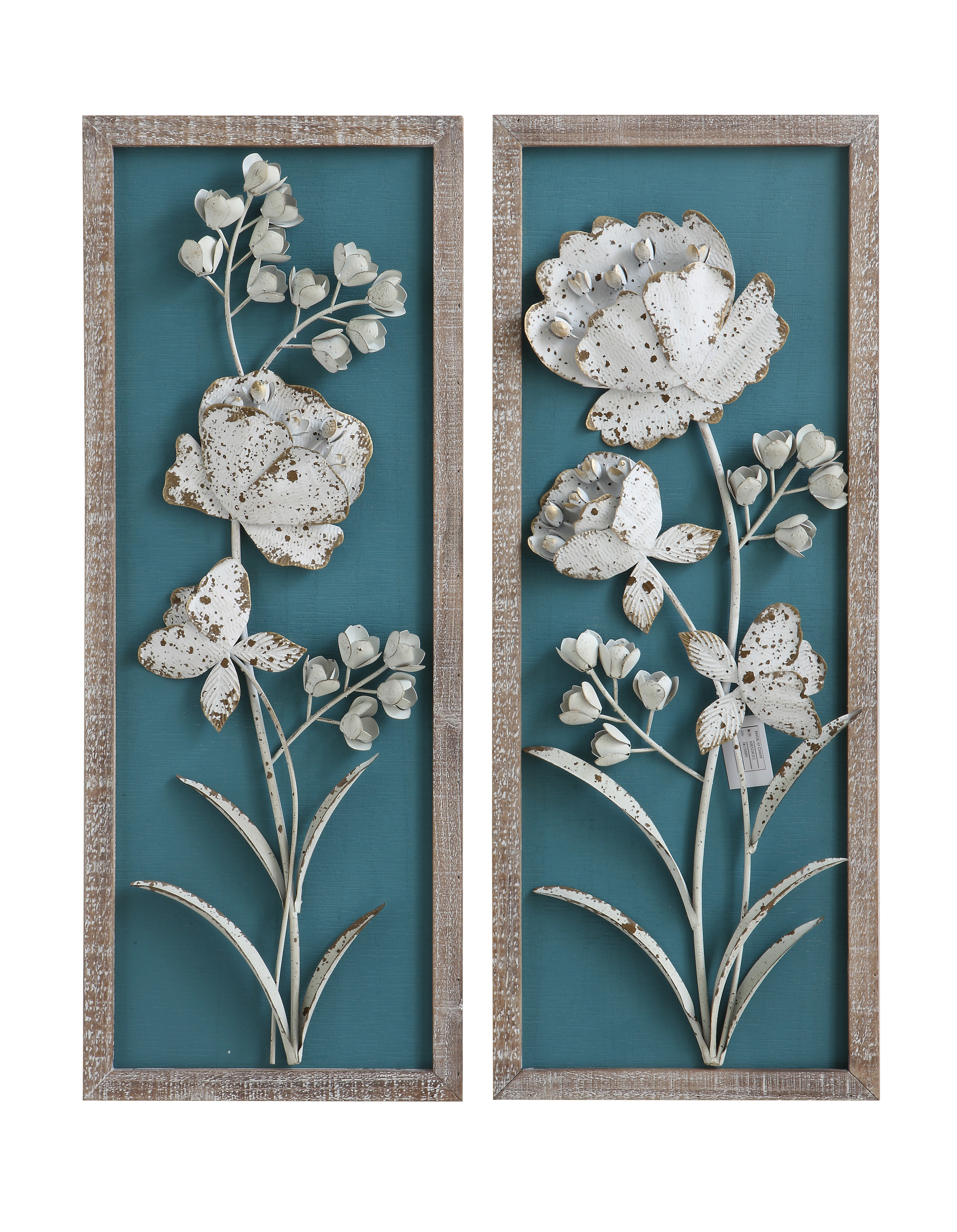 Best And Newest Metal Flower Wall Decor (Set Of 3) Regarding Bungalow Rose 2 Piece Wood With 3 D Metal Flowers Wall Décor Set (Gallery 14 of 20)
